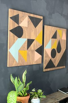 geometric painted wooden panels on wall // diy modern wall art