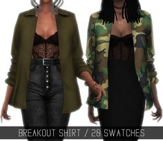 "Simpliciaty -BREAKOUT SHIRT ""Oversized open shirt jacket"" 20 swatches (15 solid colors + 5 patterns); Has morphs; HQ mod compatible(pics taken with it!); Left Wrist Category; All LOD's;"