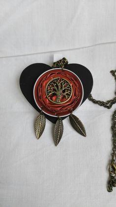 Collier bronze arbre de vie féérique capsules cabochons Nespresso bordeaux féériques : Collier par miss-perles
