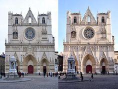 Lyon - cathédrale saint jean avec et sans soleil