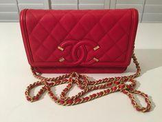 756f7dbd4c33 NWT Auth CHANEL '18P Red Filigree Caviar Flap CC Logo Chain Strap Mini Bag #
