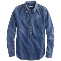 J.Crew Classic chambray popover ($78) found on Polyvore