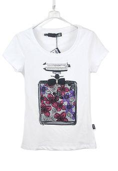 #SheInside White Rhinestone Scent-bottle Print Round Neck Short Sleeved T-shirt