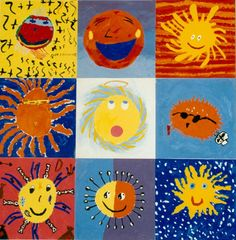 LOVE this.  ANy sun motifs make me smile.  Great painting or collage project and could be a good art auction idea too. From Art for Small Hands