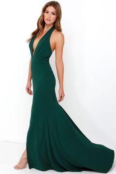 Rest is Unwritten Forest Green Halter Maxi Dress at Lulus.com!