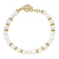 Anna Beck White Mother of Pearl Beaded Bracelet in 18K Plated Gold and Sterling Silver