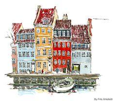 Watercolor and ink, Copenhagen, Denmark. #HikingArtist