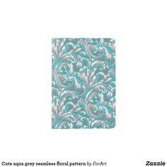 Shop Cute aqua grey seamless floral pattern passport holder created by ForArt. Passport Holders, Passport Wallet, Hand Sewing, Personal Style, Aqua, Grey, Floral, Cute, Prints