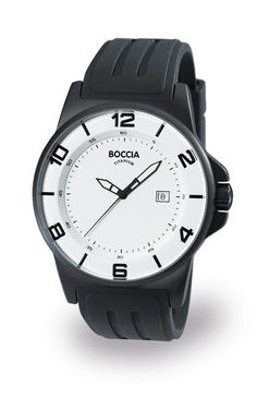 Boccia Titanium 3535-06 - 45mm solid titanium case with white dial and black rubber strap.  $145.00  www.baxston.com  #watches #timepiece #fashion