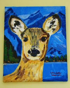 Original Painting Art Doe Portrait Forest Creatures #1 in Series Acrylic on Streched Canvas 8 x 10 - pinned by pin4etsy.com