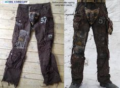 Post Apocalyptic Mad Max style LARP trousers - ageing using fabric dyes. Made by Mark Cordory Creations. www.markcordory.com