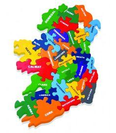 Ireland's Showcase — Map of Ireland Wooden Jigsaw Puzzle in Irish Language Wooden Map, Wooden Jigsaw Puzzles, Erin Go Braugh, Map Puzzle, Ireland Map, Irish Language, Maps For Kids, Green Toys, Irish Celtic