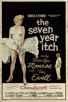Poster for The Seven Year Itch (1955), spotlighting the iconic scene where Marilyn Monroe's skirt floats up as she walks across a New York subway grate.