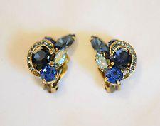 Gorgeous Vintage Estate Shades Of Blue AB Rhinestone High End Clip Earrings