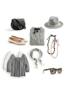 J.Crew women's mini Rider bag, Gayle tie-neck sweater, short-brimmed felt hat, Gemma  cap-toe metallic flats, Penny top in microgingham, bandana in floral paisley, Lucite and pavé necklace and Betty sunglasses.