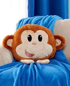 """Animal Friend Plush Pillow. Monkey Pillow. 20"""" x 17"""""""