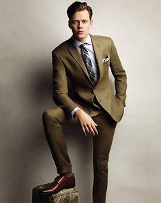 A khaki suit, but darker.