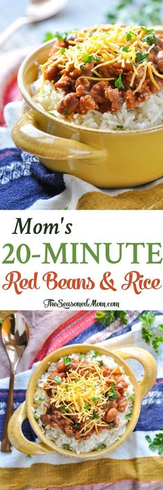 Mom's 20-Minute Red Beans and Rice! Easy Dinner Recipes | Dinner Ideas | Ground Beef Recipes | Vegetarian Recipes | Healthy Dinner Recipes | Healthy Dinners | Healthy Recipes | Gluten Free Dinner Recipes