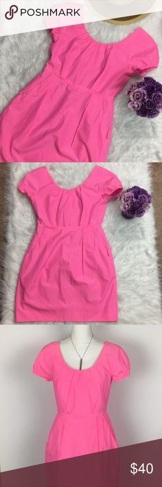 """J. Crew Hot Pink Cap Sleeve Silk Dress Low Back 4 J. Crew  Hot pink Silk blend dress Size 4 Cap sleeves Low  V back zippered Pockets No flaws  Chest 17"""" Sleeve 8"""" Length 33""""  Thanks for checking out my closet, feel free to bundle for discounts. Offers are Welcome. Message me with any questions 😊 J. Crew Dresses"""