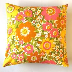 Decorative throw pillow cover yellow pink retro by dalinda on Etsy, $24.00