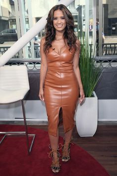 Rocsi Diaz wearing #leatherdress http://www.leathercelebrities.com/photos/entry/rocsi-diaz-poses-at-hollywood-today-live/