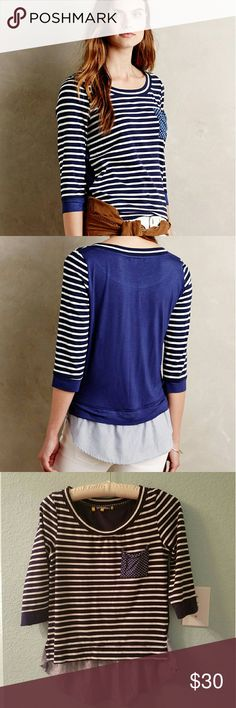 "Anthropologie Antibes Tee Cotton, spandex knit with rayon, spandex trim Machine wash Imported Style No. 4112346822746 Dimensions Regular: 22.25""L Petite: 20.5""L Anthropologie Tops Tees - Long Sleeve"