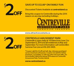 ATTRACTIONS ONTARIO - $2 Off Centreville Amusement Park. Steve Pacheco Real Estate. More coupons: bit.ly/1hupagH Ontario Attractions, Island Park, Printable Coupons, Amusement Park, Real Estate, Fun, Real Estates, Lol, Funny
