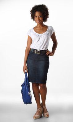 denim skirt look