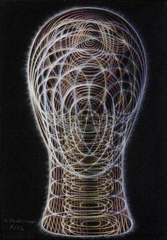 Pavel Tchelitchew - Spiral Head (I) - 1952 pastel and chalk on blue paper