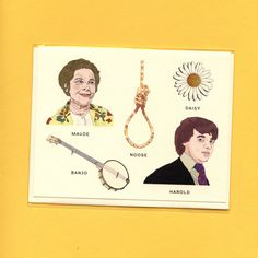 This charming card is a field guide to one of my favorite movies, the 1971 cult classic, Harold and Maude