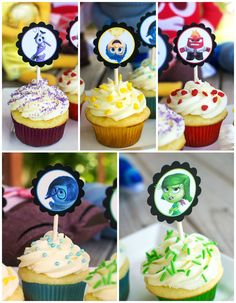 Inside Out Cupcakes - These cupcakes are perfect for an Inside Out birthday party or for talking about emotions with the kids. Download printable tags for FREE! #InsideOutEmotions #ad