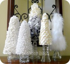 tutorials: DIY Christmas tree cones...now to pick which ones to make...yarn-wrapped and burlap too?