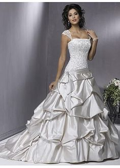 Stunning Satin Ball Gown Beaded Wedding Dress