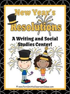 New Years Themed Resolution Writing / Social Studies Center 36 pages in color, as well as black and white for inexpensive printing. This game comes with center signs, teacher directions, student directions, work mats and student cards. Also included in this packet is four writing paper printables. $Paid