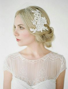 Net Birdcage Veil With Lace Appliqué by percyhandmade @Etsy