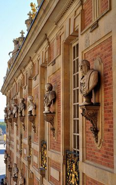 Versailles Palace ~ France ~ The architecture of the original part of the palace, which was the hunting lodge of King Louis XIII, is French architecture beyond compare.