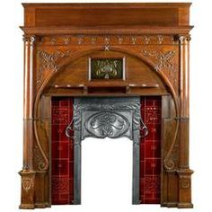 Good No Cost oak Fireplace Mantels Style Carved Oak Art Nouveau Antique Fireplace Mantel and Integral Cast Iron Insert Art Deco Fireplace, Antique Fireplace Mantels, Tv Over Fireplace, Fireplace Shelves, Farmhouse Fireplace, Fireplace Remodel, Fireplace Inserts, Fireplace Mantle, Art Nouveau Furniture