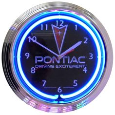 PONTIAC DRIVING EXCITEMENT NEON CLOCK