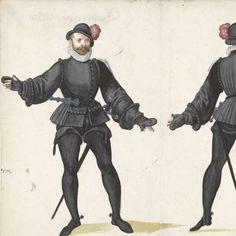 In het zwart geklede krijgsman, van voren en van achteren, anonymous, 1500 - 1600 - Rijksmuseum