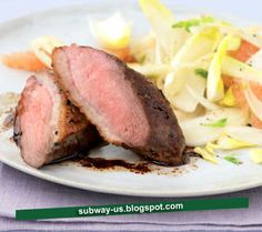 duck with pink grapefruit and chicory salad recipe