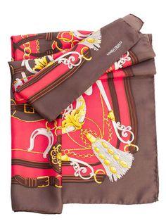 Women's Italian Luxury Equestrian Red Silk Twill Square Scarf