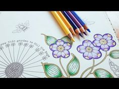 Coloring tutorial secret garden pt 1 flower with polychromos Secret Garden Coloring Book, Coloring Book Art, Adult Coloring, Coloring Pages, Colored Pencil Tutorial, Colored Pencil Techniques, Art Journal Prompts, Art Journal Pages, Enchanted