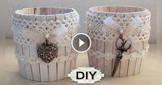 Un video tutorial davvero particolare dove ci viene mostrato come poter riciclare delle mollette e dei barattoli di latta per poter dare vita a dei bellissimi contenitori shabby chic che si possono