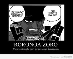 One Piece Zoro, one of the best characters ever... Just ever