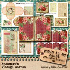 Paris In My Heart Printable Journal Kit por EphemerasGarden
