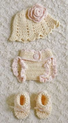 New Hand Crochet Baby Girl Hat, Booties, Diaper Cover 4 piece set 3 to 6 Months  #UniqueCre8tions