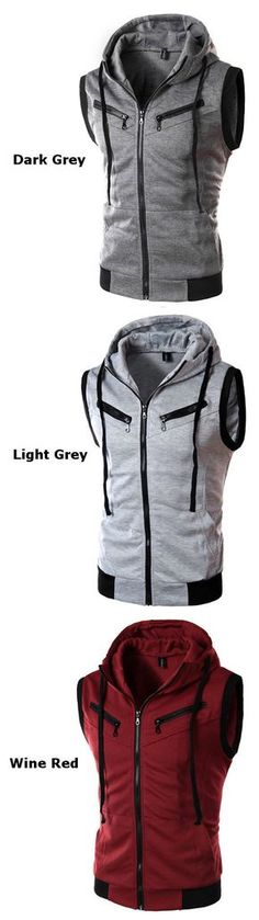 Mens Summer Casual Vest Fashion Sleeveless Hooded Vest