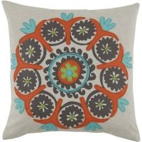 #05 Vintage Uzbek Peacock, Lime & Mandarin Linen Applique Pillow