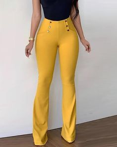 Style:Fashion Pattern Type:Solid Material:Polyester Length:Long Occasion:Casual Package Note: There might be difference according to manual measurement. Please check the measurement chart carefully before you buy the item. Bell Bottom Pants, Bell Bottoms, Leder Outfits, Girl Fashion, Fashion Outfits, Estilo Fashion, Womens Fashion Online, Pattern Fashion, Wide Leg Pants