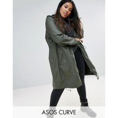 ASOS CURVE Waxed Parka Rainwear With Zip Detail ($82) ❤ liked on Polyvore featuring outerwear, coats, green, plus size, green parka coat, green parkas, waxed parka, green coat and womens plus coats